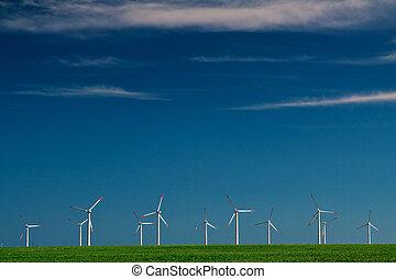 vind makt, generatorer, på, blåttsky