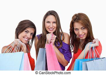 vinda, meninas, orgulhosamente, shopping, costas, adolescente
