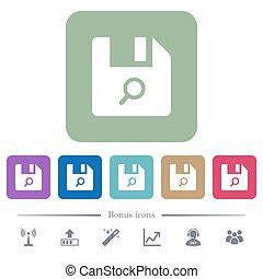 vinden, bestand, plat, iconen, op, kleur, afgerond, plein, achtergronden