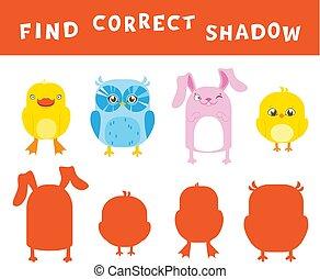 vinden, de, correct, schaduw, leren, activiteit, voor, children., vector, amusement, spel, met, animals.