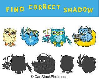 vinden, de, correct, schaduw, onderwijs, spel, voor, geitjes, met, owls., vector, kleurrijke, activity.