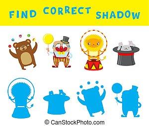 vinden, de, correct, schaduw, onderwijs, spel, voor, kids., vector, activiteit, mal, met, circus, characters.