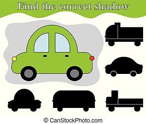 vinden, de, rechts, schaduw, van, auto., schaduw, bijbehorend, kind's, game., activiteit, voor, preschool, children.