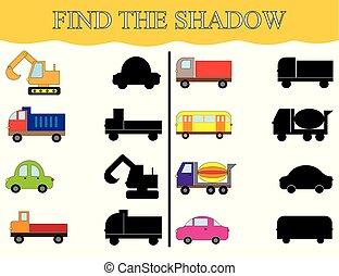 vinden, de, schaduwen, van, vervoeren, set., visueel, onderwijs, game.