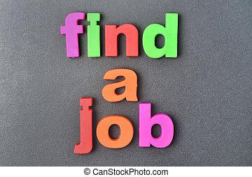 vinden, een, werk, woorden, op achtergrond