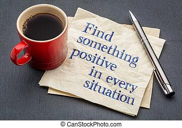 vinden, iets, positief, in, elke, toestand