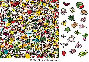 vinden, voedingsmiddelen, visueel, game., oplossing, in,...