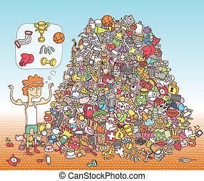 vinden, voorwerpen, visueel, game., oplossing, in,...