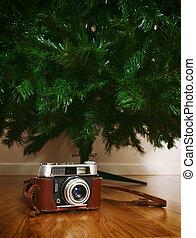 vindima, árvore, artificial, câmera, nu, sob, natal