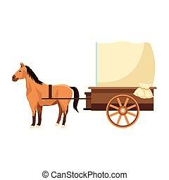 vindima, ícone, cavalo, carruagem