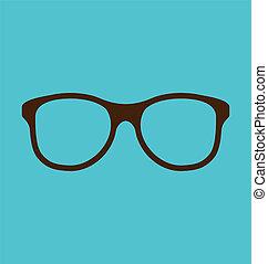 vindima, óculos, ícone, isolado, ligado, experiência azul
