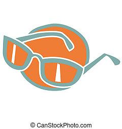 vindima, óculos, óculos de sol, retro, ou