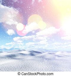 vindima, 3d, efeito, paisagem, nevado