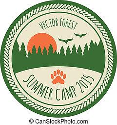 vindima, adesivo, acampamento, verão