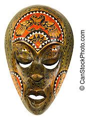 vindima, africano, máscara, ligado, um, fundo branco