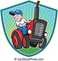 vindima, agricultor, caricatura, trator, dirigindo