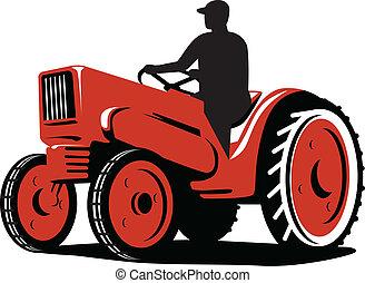 vindima, agricultor, retro, trator, dirigindo