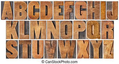 vindima, alfabeto, jogo, em, madeira, tipo