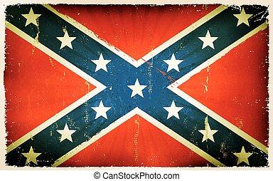 vindima, americano, bandeira confederada, cartaz, fundo