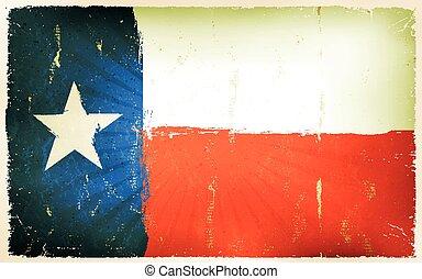 vindima, americano, bandeira texas, cartaz, fundo