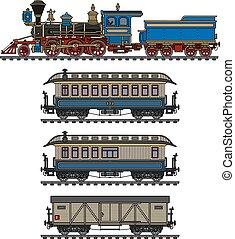 vindima, americano, trem, vapor
