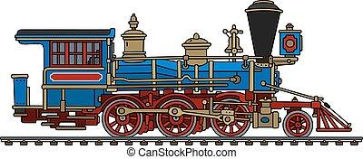 vindima, americano, vapor, locomotiva