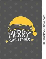 vindima, ano, feliz, novo, cartão natal, feliz