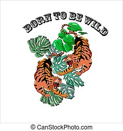 vindima, artwork, ilustração, emblemas, tigres, t-shirt., vetorial, impressão, nascido, ser, inscrição, tatuagem, zangado, style., antigas, wild., selva, dois