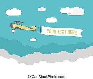 vindima, avião, bandeira, e, viagem, infographics, com, vazio, forma, cartaz, para, texto, slogan, motivação, signs., retro, biplano, emblem., aviação, folheto, flyer., viagem, companhia, voador, esquema, template., vetorial