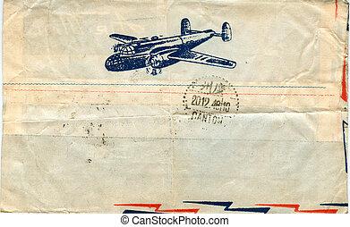 vindima, avião, envelope, aquilo, correio aéreo