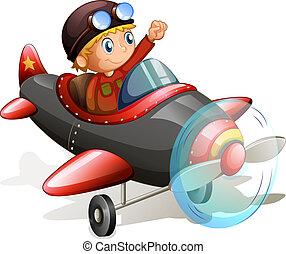 vindima, avião, jovem, piloto