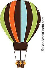 vindima, balloon, ar, quentes, retro, fundo, ou, transparente