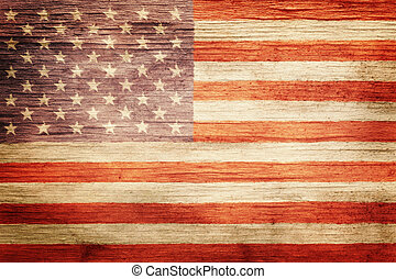 vindima, bandeira americana, fundo, gasto