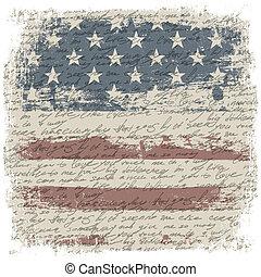vindima, bandeira eua, fundo, com, isole, grunge, borders., vetorial, ilustração, eps10