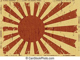 vindima, bandeira, paisagem, fundo, japão