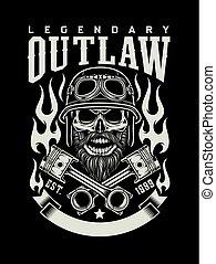 vindima, barbudo, biker, cranio, com, cruzado, pistões, emblema
