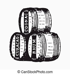 vindima, barril, gravura, efêmero, vetorial, ilustração