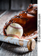 vindima, bastão baseball, e, luva, com, bola