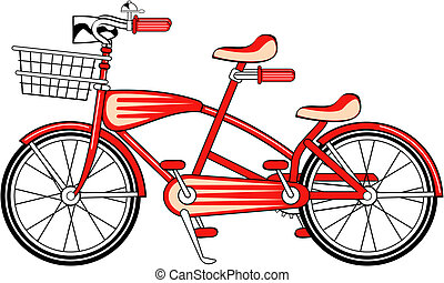 vindima, bicicleta, bicicleta, construído, dois