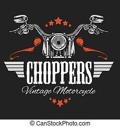 vindima, bicicleta, etiqueta, motocicleta, chopper, retro