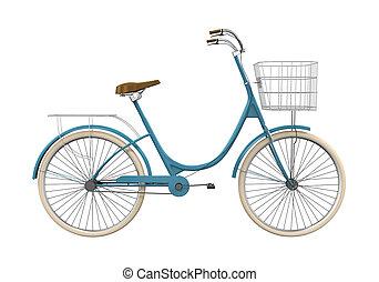 vindima, bicicleta, isolado