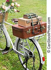 vindima, bicicleta, ligado, a, campo
