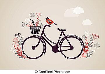 vindima, bicicleta, retro, fundo