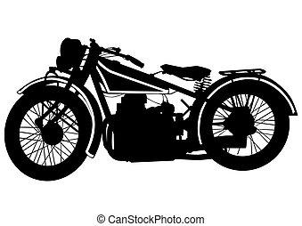 vindima, bicicleta, três, motor