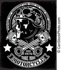vindima, biker, cranio, com, cruzado, pistão, emblema