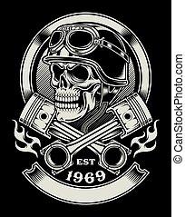 vindima, biker, emblema, cranio