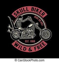 vindima, biker, vetorial, cranio, ilustração
