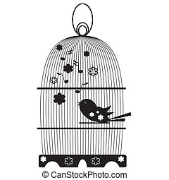 vindima, birdcage, com, pássaros
