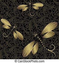 vindima, black-gold, seamless, padrão