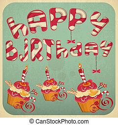 vindima, bolos, cartão aniversário
